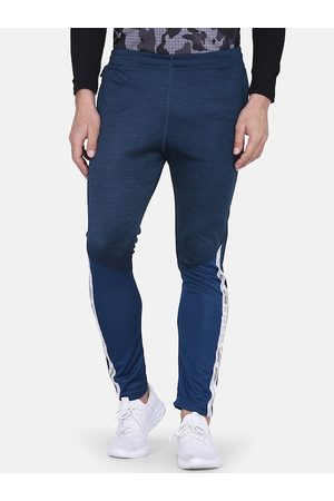 Aesthetic Bodies Men Blue Solid Slim-Fit Training Or Gym Track Pants