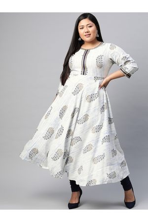 Yash Gallery Women Plus Size White & Blue Ethnic Motifs Printed Anarkali Kurta