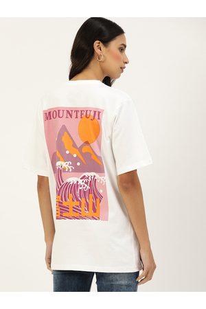 DILLINGER Women Short Sleeve - Women White Back Printed Round Neck Oversized Longline T-shirt