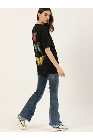 DILLINGER Women Black Back Printed Round Neck Oversized Longline T-shirt