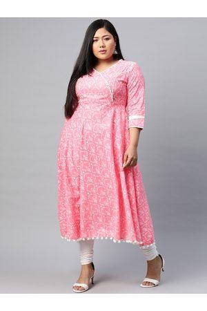 Yash Gallery Women Plus Size Pink & White Ethnic Motifs Printed Angrakha Anarkali Kurta