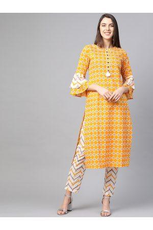 Yash Gallery Women Yellow & White Printed Kurta with Trousers