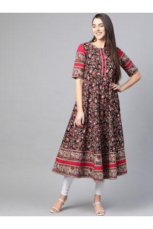 Yash Gallery Women Black & Red Cotton Printed Anarkali Kurta