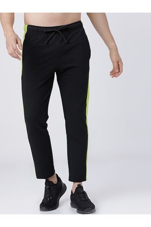 LocoMotive Men Black & Fluorescent Green Solid Slim-Fit Track Pants