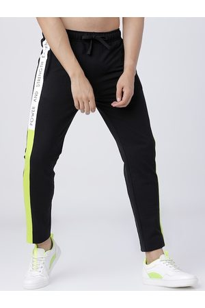 LocoMotive Men Black & White Solid Slim-Fit Track Pants