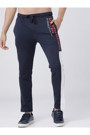 Highlander Men Navy Blue & Red Typography Slim-Fit Track Pants