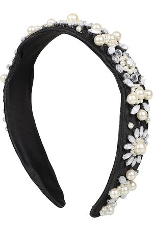 Anekaant Women Black & White Velvet Floral Beaded Hairband