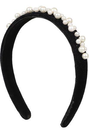 Anekaant Women Black & White Velvet Pearl Beaded Hairband