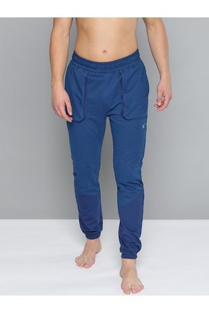 HRX Men Blue Solid Slim Organic Cotton Antimicrobial Yoga Joggers