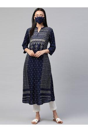 Juniper Women Navy Blue Bandhani Print Kurta with Cloth Mask