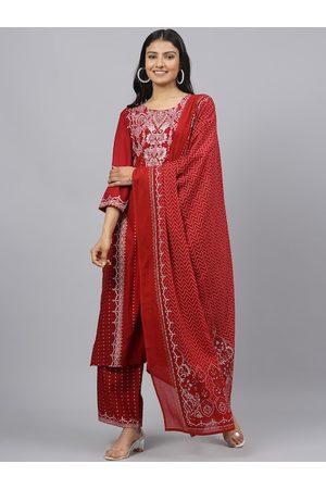 Anaisa Women Red Printed Kurta with Palazzos & Dupatta