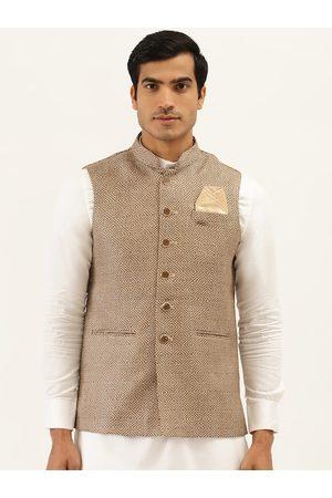 Manyavar Men Brown Woven Design Nehru Jacket with Pocket Square