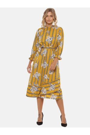 Campus Women Yellow Printed Fit and Flare Dress