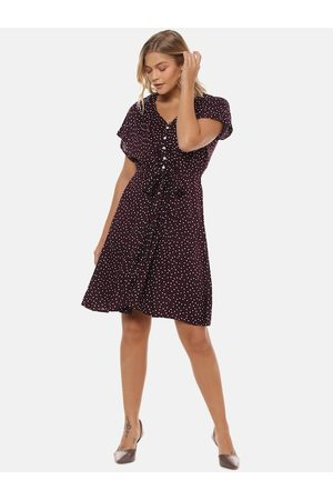 Campus Women Maroon Printed Fit and Flare Dress