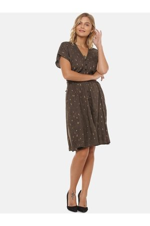 Campus Women Brown Printed Fit and Flare Dress