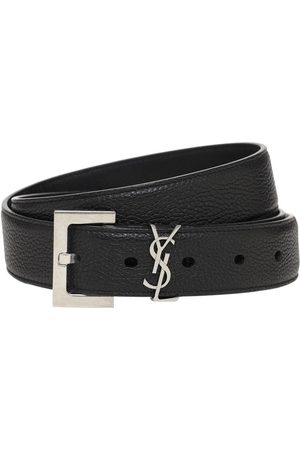 Saint Laurent 3cm Monogram Leather Belt