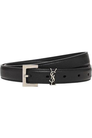 Saint Laurent Men Belts - 2cm Monogram Smooth Leather Belt
