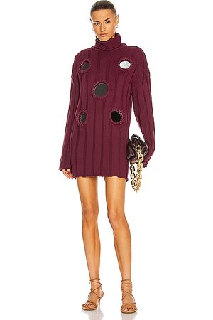 AREA Mirror Inset Oversized Tunic Sweater in Bordeaux