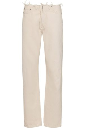 Maison Margiela Women Straight - Distressed mid-rise straight jeans