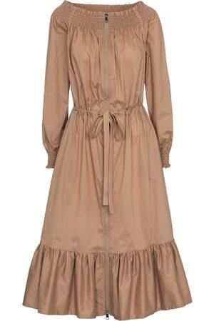 Moncler Women Midi Dresses - Off-shoulder cotton midi dress