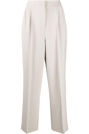 12 STOREEZ High-waisted pleated straight-leg trousers