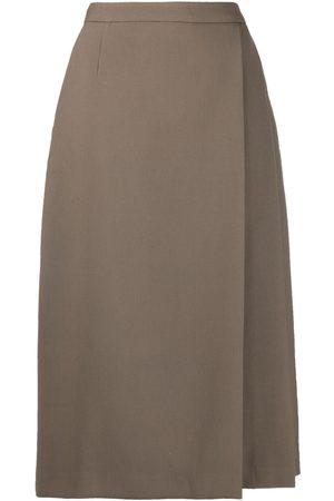 12 STOREEZ Women Midi Skirts - Pleated side-slit midi skirt