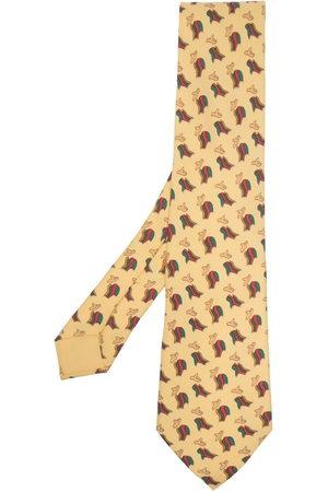 Hermès Men Neckties - 2000s pre-owned poncho and hat print tie