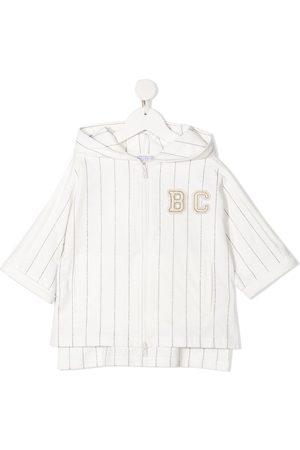 Brunello Cucinelli Girls Hoodies - Logo-patch striped zip-up hoodie