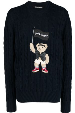 Palm Angels Pirate Bear cable-knit jumper