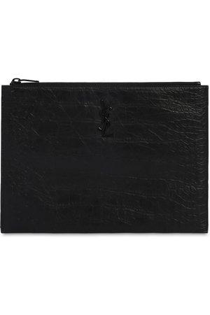 Saint Laurent Men Laptop Bags - Logo Embossed Leather Tablet Holder