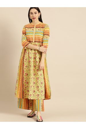 Varanga Women Mustard & Multicoloured Printed Kurta with Palazzos