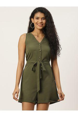 Trend Arrest Women Olive Green V-Neck Solid Playsuit