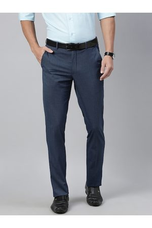 Louis Philippe Men Blue Slim Fit Solid Formal Trousers
