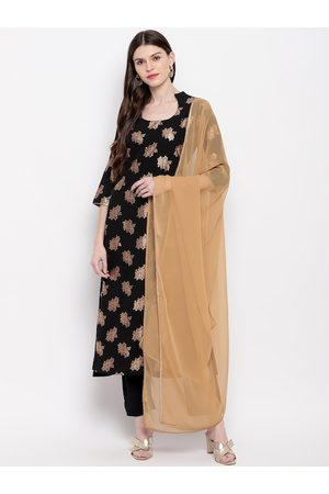 Janasya Women Black & Beige Embroidered Kurti with Trousers & Dupatta