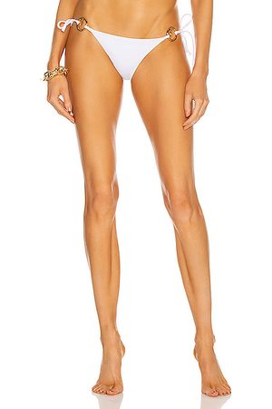 VERSACE Side Tie Bikini Bottom in Bianco Ottico