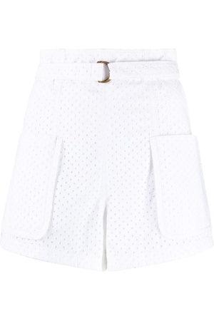 Serafini Women Shorts - Eyelet high-waisted shorts