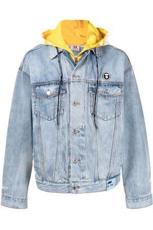AAPE BY A BATHING APE Men Denim Jackets - Hood-layer denim jacket