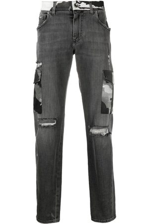 Dolce & Gabbana Men Bootcut & Flares - Ripped camouflage-detail bootcut jeans