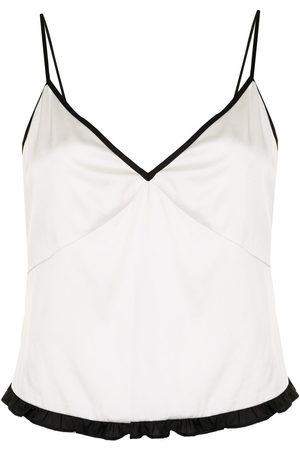 FLEUR DU MAL Ruffle-hem stretch silk camisole top