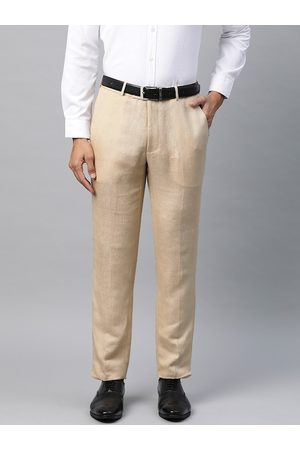 Marks & Spencer Men Beige Slim Fit Solid Formal Trousers