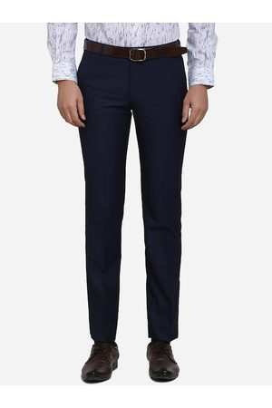 METAL Men Navy Blue Slim Fit Solid Formal Trousers
