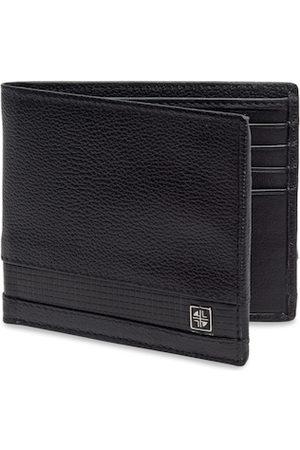 Carlton London Men Black Textured Leather RFID Two Fold Wallet