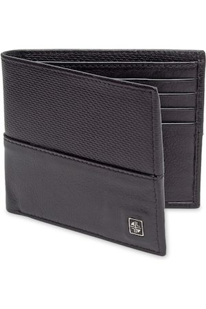 Carlton London Men Black Textured Two Fold Wallet