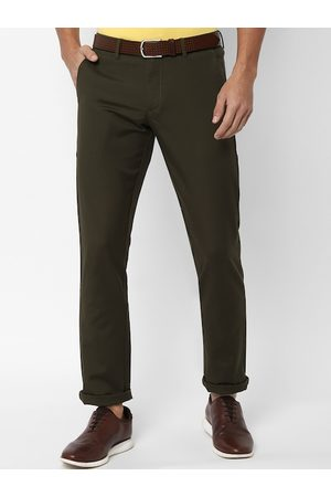 Allen Solly Men Olive Green Slim Fit Solid Regular Trousers