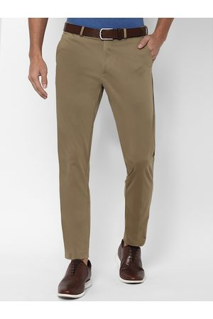 Allen Solly Men Khaki & Navy Blue Slim Fit Solid Regular Trousers