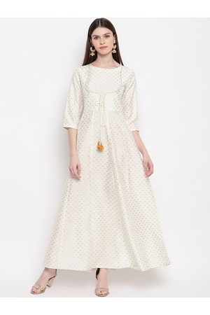 Janasya Women Off White & Gold-Toned Geometric Printed Anarkali Kurta