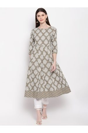 Janasya Women Green & Off White Ethnic Motifs Printed Anarkali Kurta