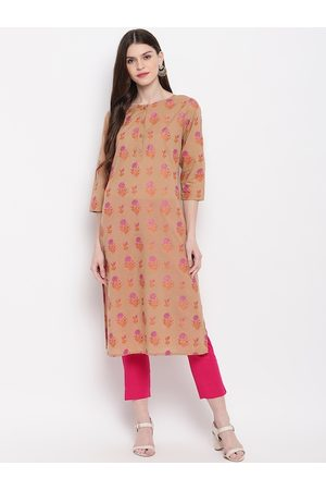 Janasya Women Brown & Pink Floral Printed Kurta