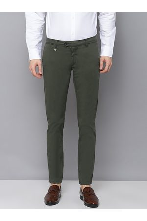Antony Morato Men Olive Green Skinny Fit Solid Regular Trousers