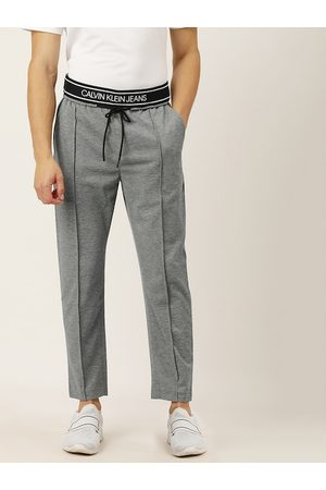 Calvin Klein Men Grey Melange Slim Fit Solid Pleated Track Pants